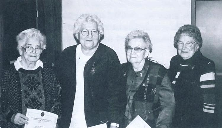 Mary Michel, Rosella Teer, Grace Colby, Barb Bradley. These ladies were recognized for over 60 years of service.
