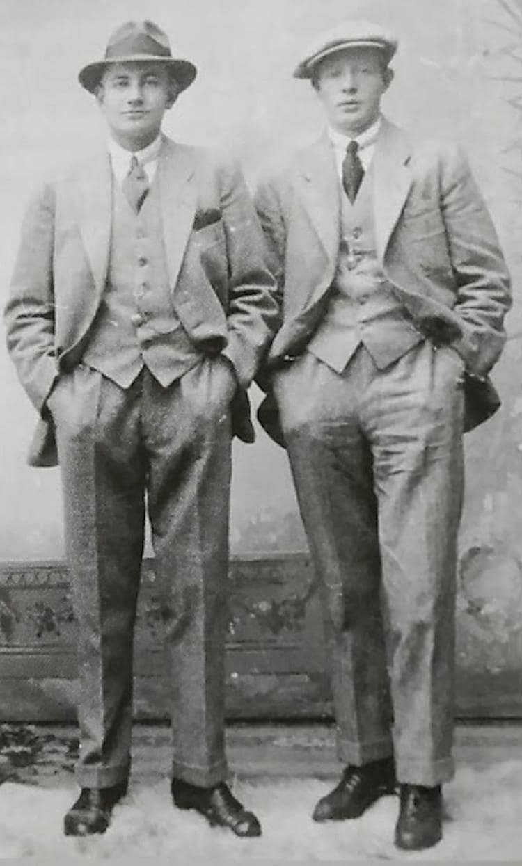 Halvor Ausland (left) prior to departure from Norway to Canada, 1920.