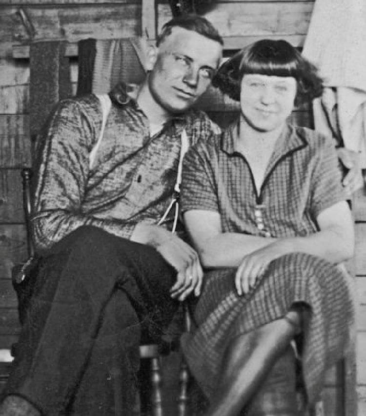 Halvor and Mary Ausland at Deep River, 1920s.