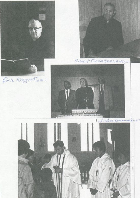 oblates who have ministered in Ile-a-la-Crosse<br>Top left: Emile Ringuet OMI, Top Right: Albert Chamberland OMI, Center: J. Bourbonnais OMI, Bottom: James Fiori OMI.