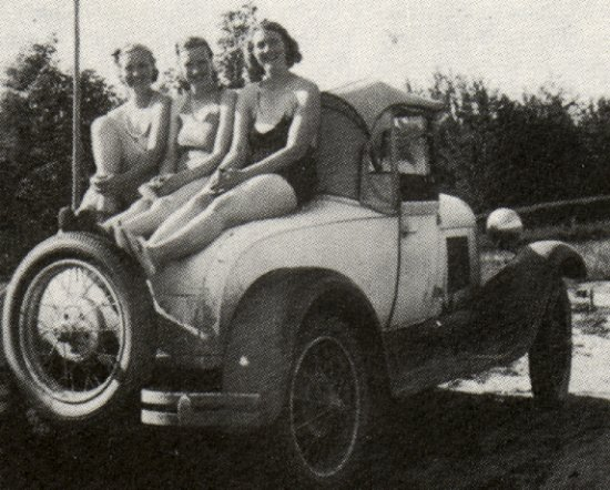 Betty Snell, Hazel Over and Eva Mellin on the Over's car - 1932.
