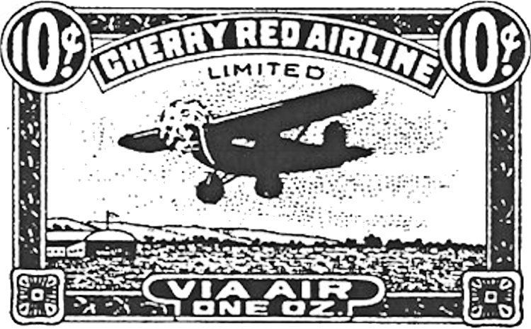 One of Cherry Red Airlines' stamps.