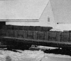 Freight arrives at Stanley, winter 1954.