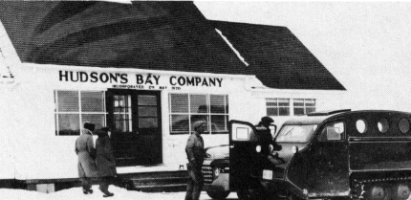Bombardiers at the Hudson's Bay Company Store, Ile-A-La-Crosse, 1955.