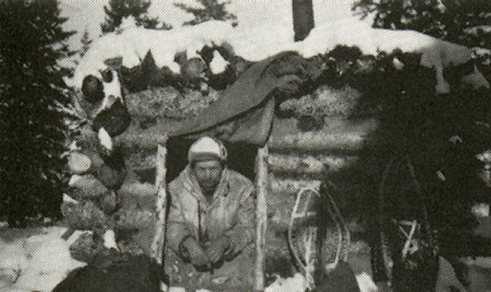 Mr. Clarkson in his trapper's shack.