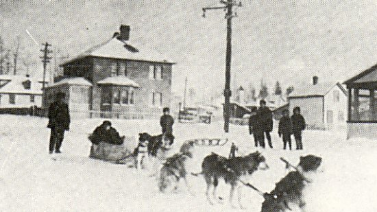 Rabbitskin dog team showing Anton Johnson home in the background.