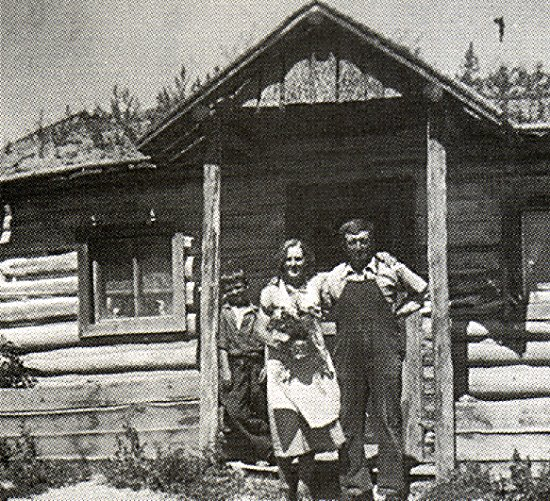 Mr. and Mrs. John Pilney on the old Homestead.