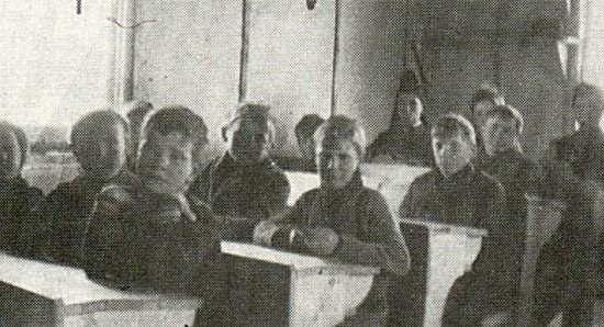 Boys side of school room - 1912.