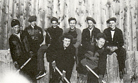 Left to right: Lorne McCully, Raymend Erickson, Ivan Edson, Wilfred Anderson,<br>  Stanley LaFontaine, Edmond Caissie, Mervin Sundby, Miss McLaron - teacher.