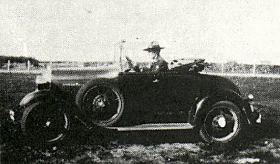 Constable Sixsmith on patrol in 1932 with a Model A Ford Roadster.