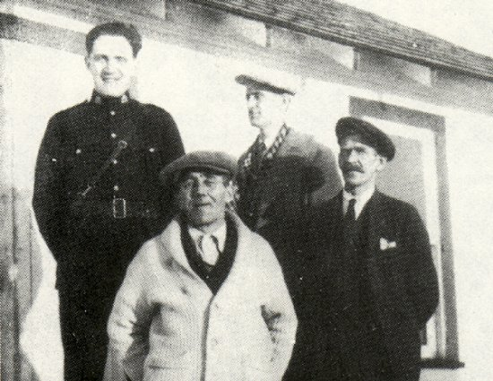 Left to right: Constable Sixsmith, Fred Buckley (in sweater), William Gould, and E.C. Baskett.
