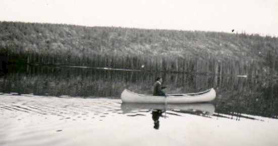 Fred Darbyshire paddling his canoe
