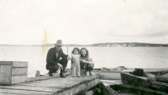 Fred Darbyshire and unidentified woman and child<BR>Photo appears to have been taken at Ile-A-La-Crosse