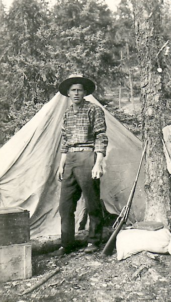 Fred Darbyshire at Poorfish Lake - 1927.