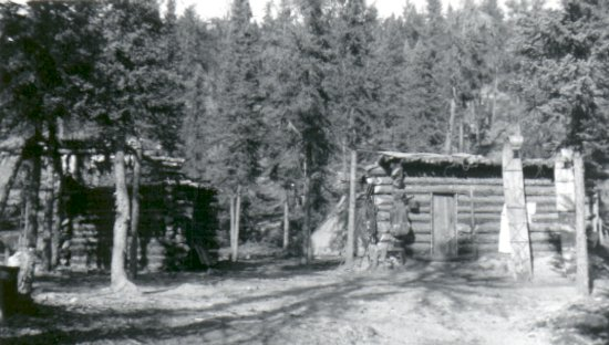 Trapping cabin and toboggans
