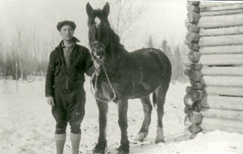 Harold Dahlby with first horse 'Dick'.