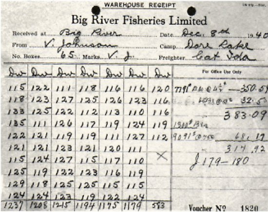 Wharehouse Receipt for 65 boxes of fish, 1940.