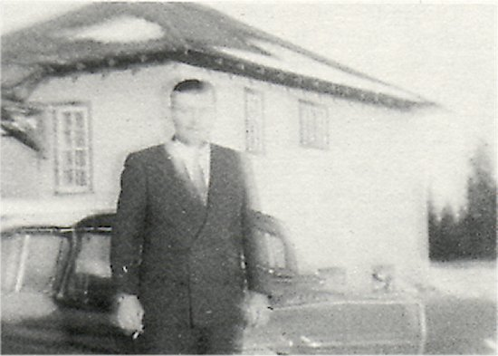 Dore Lake School and the first teacher, Mr. M. Parchewsky, 1961.