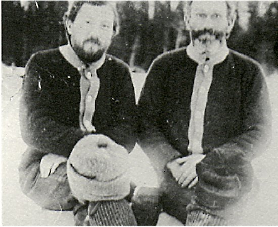 George B. Rizer (left) and Dave Overly (right), winter of 1911-12.