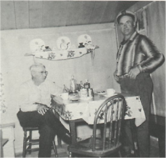 Harold Eldridge and Geir Thorden at Geir's home on Geir's Island (Camp Four Island).