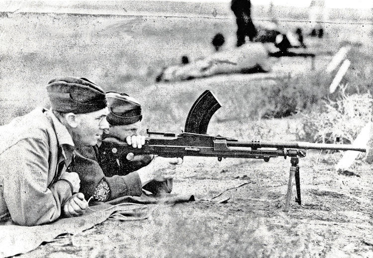 Practice-firing with a bren gun, place and date unknown.