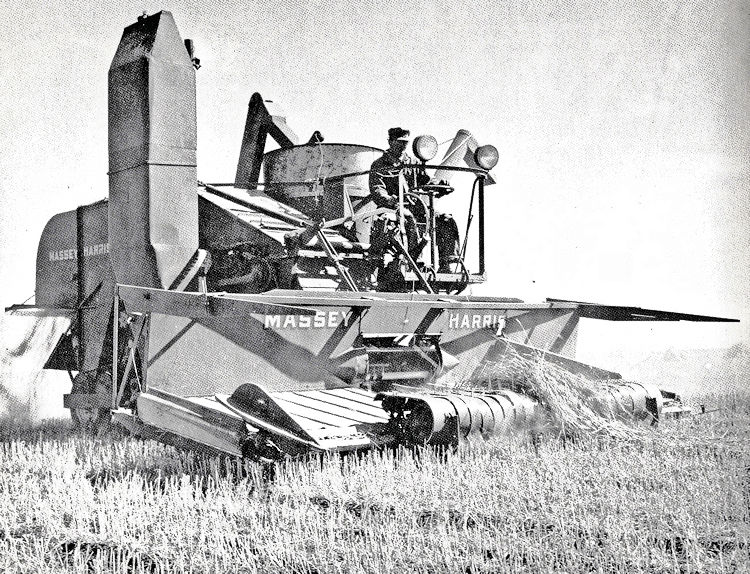 Combining on the farm of J.B. Francis, Sedly, August, 1949.