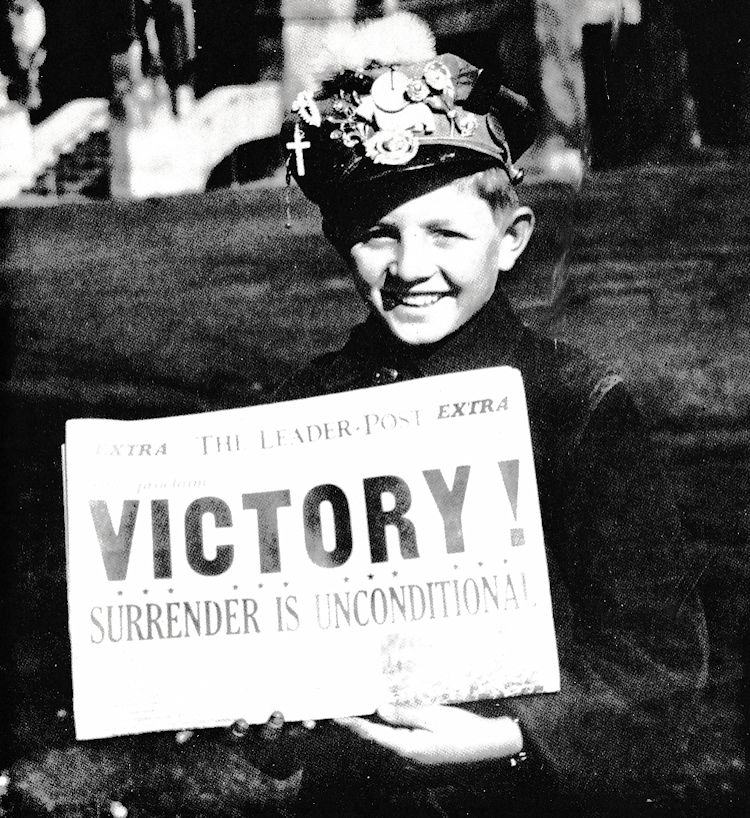 Victory in Europe: George Baker with the Regina Leader-Post Extra, 7 May, 1945.