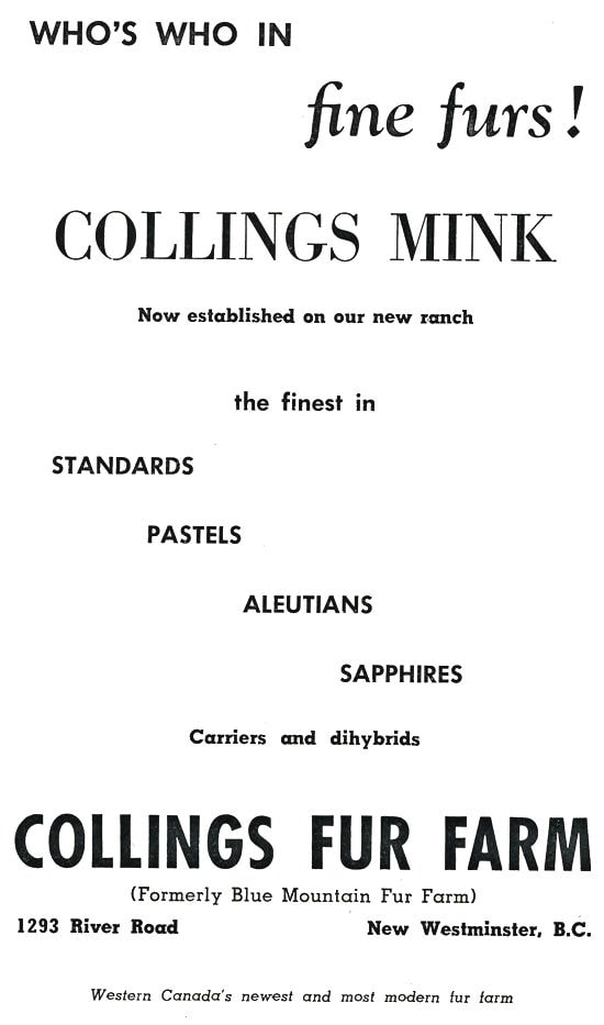 Collings Fur Farm Advertisment.