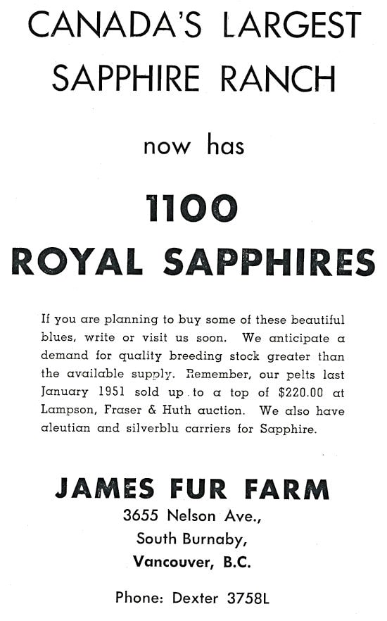 James Fur Farm Advertisment.