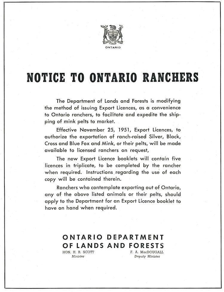 Ontario Dept. of Lands and Forests Advertisment.