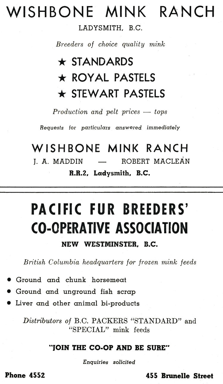 Wishbone Fur Farm Advertisment.